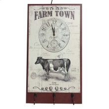 Farm Town Cattle Clock Plaque W/hooks, White/red