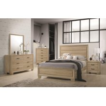 Vernon Transitional Whitewashed Oak Eastern King Four-piece Set