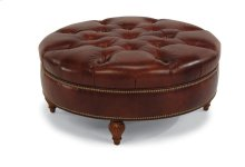 Martin Leather Round Cocktail Ottoman