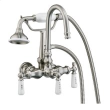 Clawfoot Tub Filler - Diverter Faucet with Code Gooseneck Spout - Polished Chrome