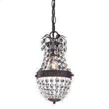 Camborne 1-Light Mini Pendant in Clear Crystal with Bronze Banding