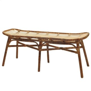 Beyla Rattan Bench, Marble Brown