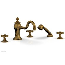 MARVELLE Deck Tub Set with Hand Shower - Cross Handles 162-48 - French Brass