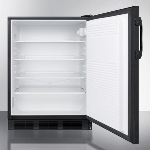 Commercially Listed Built-in Undercounter All-refrigerator for General Purpose Use, With Flat Door Liner, Automatic Defrost Operation and Black Exterior