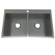 Atelier stainless steel double bowl - flushmount
