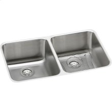 "Elkay Lustertone Classic Stainless Steel 30-3/4"" x 18-1/2"" x 10"", Equal Double Bowl Undermount Sink Kit"