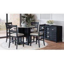 Altamonte Round Counter Table With 4 Ladderback Stools - Dark Charcoal