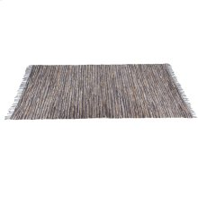 Blue & Beige Leather Chindi 5'x8' Rug (Each One Will Vary).