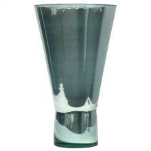 Large Wide Mouth Vase in Spanish Glass Turquoise Iridescence Finish
