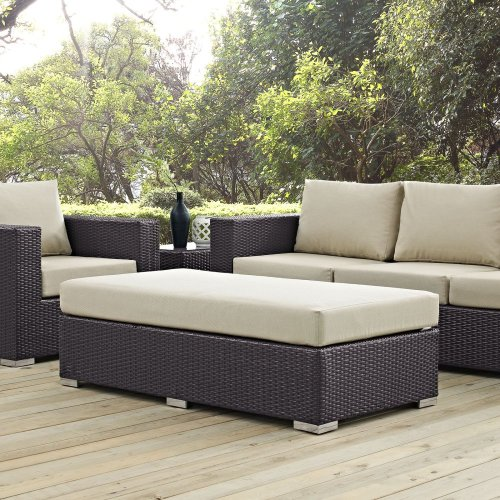 Convene Outdoor Patio Fabric Rectangle Ottoman in Espresso Beige