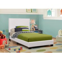 Mauve Upholstered Platform White Twin Bed
