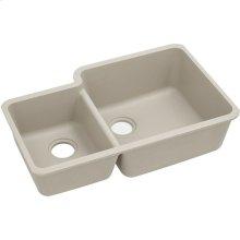 "Elkay Quartz Classic 33"" x 20-11/16"" x 9"", Offset 40/60 Double Bowl Undermount Sink, Putty"
