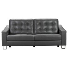 Parker Tufted Leather Power Reclining Sofa in Storm Grey