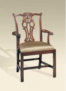 CARVED POLISHED MAHOGANY FINIS H CHIPPENDALE STRAIGHT LEG ARM CHAIR, NEUTRAL UPH