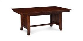 Loft Slat Trestle Table, Solid Top