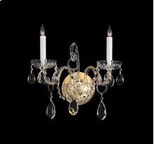 Traditional Crystal2 Light Clear Crystal Brass Sconce II