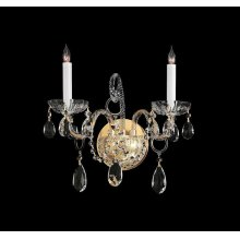 Traditional Crystal 2 Light Clear Crystal Brass Sconce