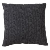 Oversized Charcoal Grey Cable Knit Acid Wash Floor Pillow with Leather Handle Product Image