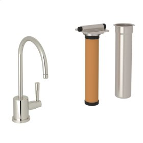 Polished Nickel Perrin & Rowe Holborn C-Spout Filter Faucet with Contemporary Metal Lever