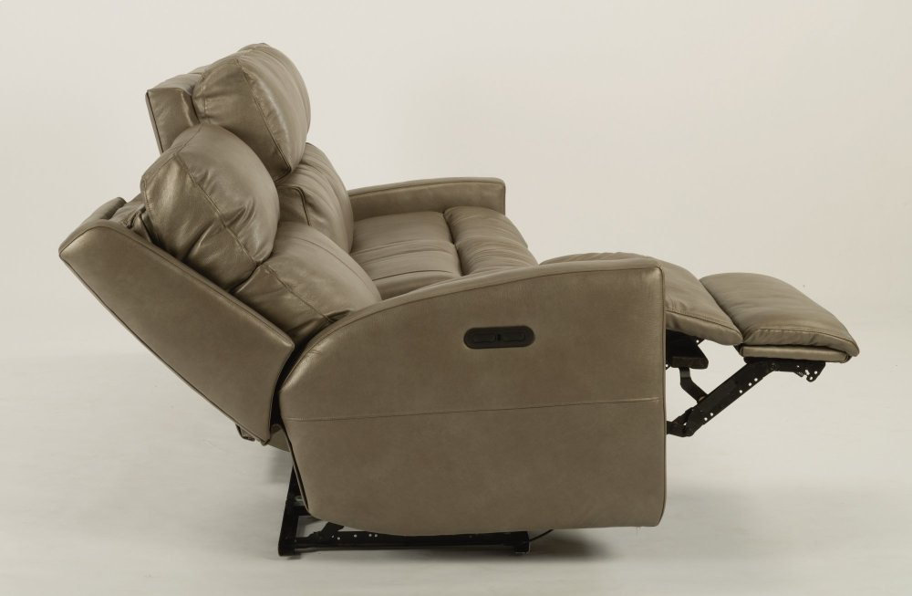 Flexsteel Catalina Leather Power Reclining Sofa With Headrests