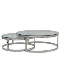 Coffee table S/2 100x35+ 79x29 cm MILAGRO glass nickel