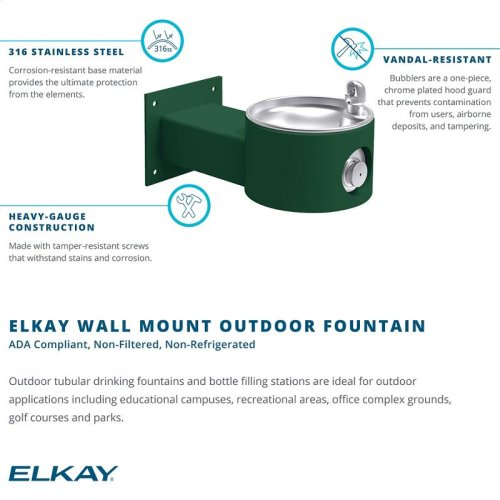 Elkay Outdoor Fountain Wall Mount, Non-Filtered Non-Refrigerated