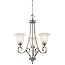 Monroe 3 Light Chandelier with LED Bulbs Brushed Nickel