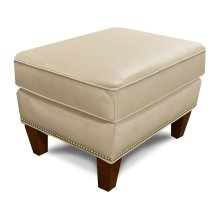 Leather Olive Ottoman with Nails 477ALN
