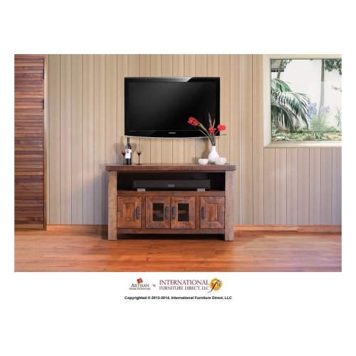 62in TV Stand w/2 Glass doors, 4 Drawers
