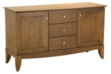 60 Inch Buffet With Maple Doors, 3 Drawers and Curved-front Solid Maple Wood Top, Brushed Satin Nickel Knobs 1 Adjustable Shelf Behind Each Door