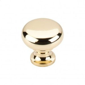Flat Faced Knob 1 1/4 Inch - Polished Brass