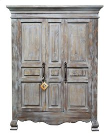 2 Door Old Grey Armoire