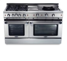 """60"""" six burner gas self-clean range w/ Power-Wok™ + convection oven - NG"""