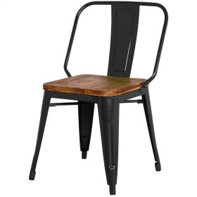 Brian Metal Side Chair Wood Seat, Black