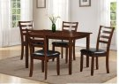 Brown 5pc Dining Set - Black PU Seat Product Image
