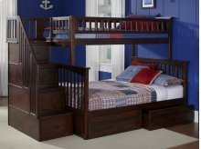 Columbia Staircase Bunk Bed Twin over Full with Flat Panel Bed Drawers in Walnut