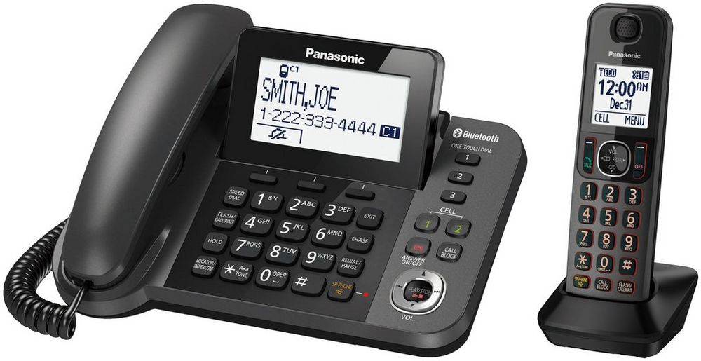 Link2Cell Bluetooth(R) Corded / Cordless Cordless Phone and Answering Machine with 1 Cordless Handset