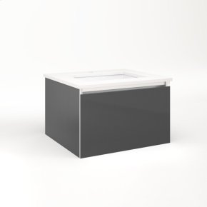 """Cartesian 24-1/8"""" X 15"""" X 21-3/4"""" Single Drawer Vanity In Smoke Screen With Slow-close Plumbing Drawer and Night Light In 5000k Temperature (cool Light)"""