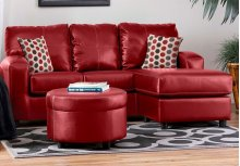 San Marino Red / Shogun Red PU Round Ottoman
