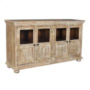 Bengal Manor Mango Wood 4 Carved Door and Beveled Glass Sideboard Product Image
