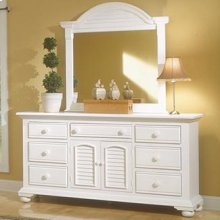 Seven Drawer Triple Dresser and Dressing Mirror