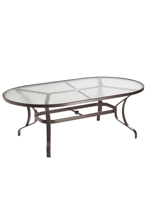 "Obscure Glass 84"" x 42"" Oval KD Dining Umbrella Table"
