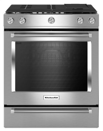 KitchenAid™ 30-Inch 5-Burner Dual Fuel Convection Front Control Range with Baking Drawer - Stainless Steel