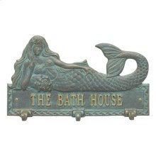 Personalized Mermaid Hook Plaque - Bronze Verdigris