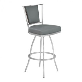 """Armen Living Delhi 30"""" Bar Height Metal Barstool in Gray Pu with Brushed Stainless Steel Finish and Walnut Veneer Back"""