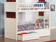 Nantucket Bunk Bed Twin over Twin with Flat Panel Bed Drawers in White