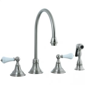 Asbury - 4-Hole Widespread Gooseneck Kitchen Faucet without Side Spray - Polished Nickel
