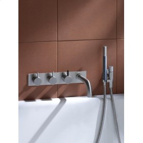 Two-handle build-in mixer with 1/4 turn ceramic disc technology and diverter - Natural brass