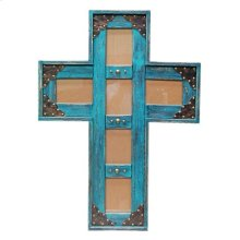4x6 Turq. Cross Picture Frame