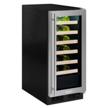 "15"" High Efficiency Single Zone Wine Cellar - Black Frame, Glass Door - Left Hinge, Stainless Designer Handle"